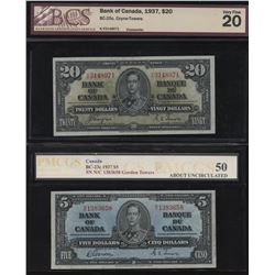 1937 Bank of Canada $5 & $20
