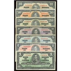 1937 Bank of Canada $1 - $100 Complete Set