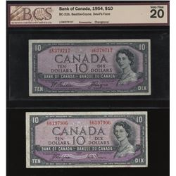 1954 Bank of Canada $10 Devil's Face - Lot of 2