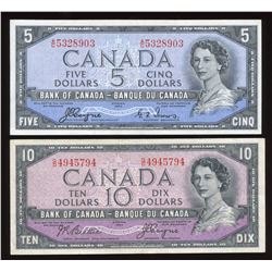 1954 Bank of Canada $5 & $10 Devil's Face - Lot of 2