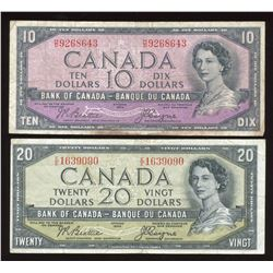 1954 Bank of Canada $10 & $20 Devil's Face - Lot of 2