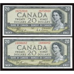 1954 Bank of Canada $20 Devil's Face - Lot of 2