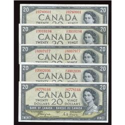 1954 Bank of Canada $20 Devil's Face - Lot of 5