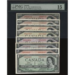 1954 Bank of Canada $1 - $1000 Devil's Face Set