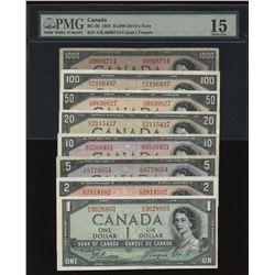 1954 Bank of Canada $1 - $1000 Devil's Face Set