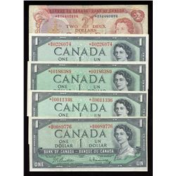 Bank of Canada $1 & $2, 1954 Replacements - Lot of 6