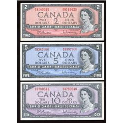 1954 Bank of Canada $2, $5 & $10 Notes