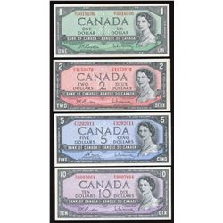 1954 Bank of Canada $1, $2, $5 & $10 Notes