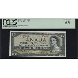 1954 Bank of Canada $20 Changeover Note