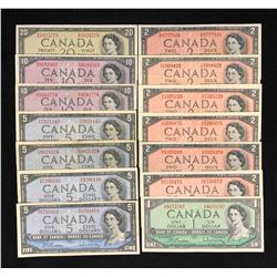 1954 Bank of Canada Collection of 14 Notes
