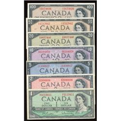 1954 Bank of Canada $1 - $100 Complete Set