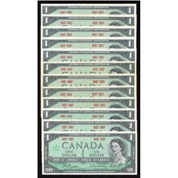 Bank of Canada $1, 1967 - Lot of 12 Notes, no serial numbers