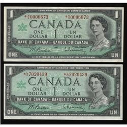 1967 Bank of Canada $1 Replacement Notes - Lot of 2