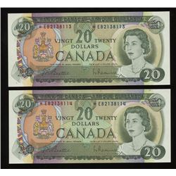 1969 Bank of Canada $20 - Lot of 2 Consecutive Replacement Notes