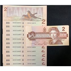1986 Bank of Canada $2 - Lot of 18 Consecutive Transitional Prefix's