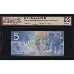 Bank of Canada $5, 2002 Replacement.