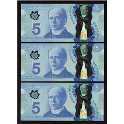 2013 Bank of Canada $5 - Lot of 3 Consecutive Notes
