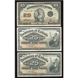 Dominion of Canada Twenty-Five Cents - Lot of 3 Better Condition Notes