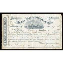 Maritime Bank of the Dominion of Canada Deposit Receipt