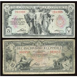 Canadian Bank of Commerce $5 & $10, 1935 - Lot of 2