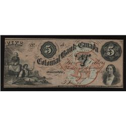 Colonial Bank of Canada $5, 1859