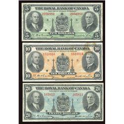 Royal Bank of Canada $5, $10 & $20, 1935 Set