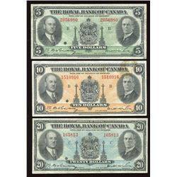 Royal Bank of Canada $5, $10 & $20, 1935 Set