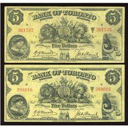 Bank of Toronto $5, 1937 - Lot of 2