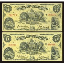 Bank of Toronto $5, 1937 - Lot of 2