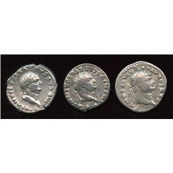 Flavian Emperors. 69-81 AD. AR Denarius. Lot of 3