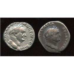Vespasian. 69-79 AD. AR Denarius. Lot of 2
