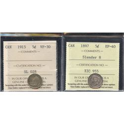 1897 & 1915 ICCS Graded Five Cents