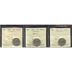 1922,1926,1931 ICCS Graded Trio of Five Cents