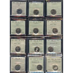 Lot of 14 ICCS Graded Five Cents