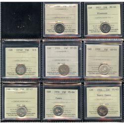 Lot of 20 ICCS Graded Ten Cents