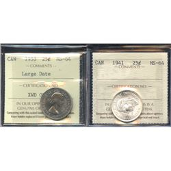 1941 & 1953 ICCS Graded Twenty-Five Cents