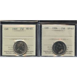 1969 & 1996 ICCS Graded Twenty-Five Cents