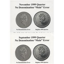 1999 September & November Mule Twenty-Five Cents Set
