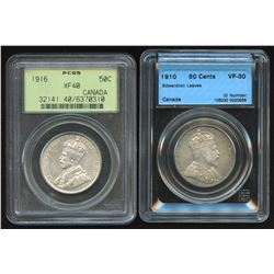 Pair of Graded Fifty Cents