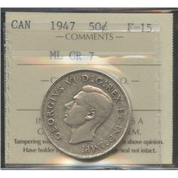 1947 Fifty Cents - Maple Leaf CR 7