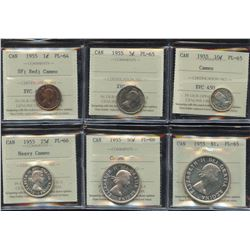 1955 Complete Proof-Like Set - All ICCS Graded