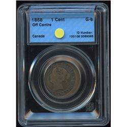 1858 One Cent - Off Centre