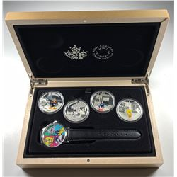 2015 $20 Canada LOONEY TUNES CLASSIC SCENES 4-COIN WITH WATCH (NO TAX)