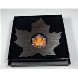2016 $20 Canada CANADA'S COLOURFUL MAPLE LEAF SHAPED FINE SILVER (NO TAX)