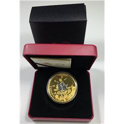 2017 $50 Canada WHISPERING MAPLE LEAVES - 3 OZ. PURE SILVER GOLD-PLATED COIN (NO TAX)