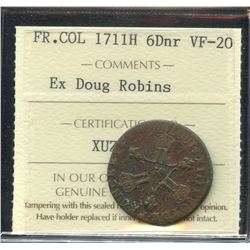 French Colonies 6 Denier, 1711H