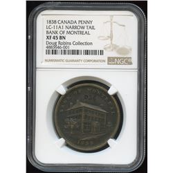 Lower Canada, Side View Penny, 1838