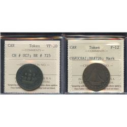 Br. 725, 726.  Pair of Upper Canada tokens.