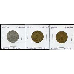 Ontario Trade Tokens - Lot of 3 Halton County bread tokens