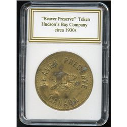 Hudson's Bay Company - Beaver Preserve Token in Brass Number 127.